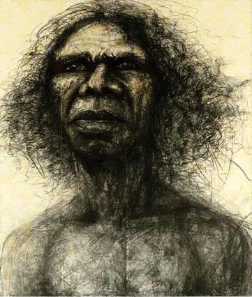 Craig Ruddy - 'David Gulpilil, Two Worlds' - mixed media on wallpaper on board. Archibald Prize Winner.