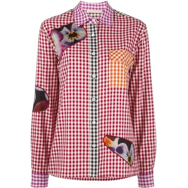 Christopher Kane gingham shirt (1.925 BRL) ❤ liked on Polyvore featuring tops, multicolor, red shirt, long-sleeve shirt, floral long sleeve shirt, red gingham shirt and red long sleeve shirt