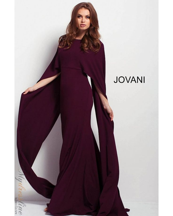 Jovani 46994 jewel neck long cape dress, elbow length overlay on bodice, fitted silhouette, princess seams for detail, long cape with peep hole in back, straight skirt with small train. -  - Jovani 46994 jewel neck long cape dress, elbow length overlay on