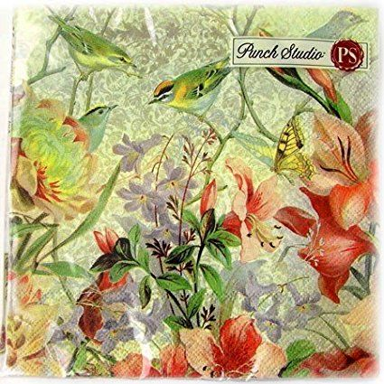 40 Ct Punch Studio Paper Luncheon Napkins #93643 Nature's Song Birds Butterflies Flowers, Premium Quality 3-Ply