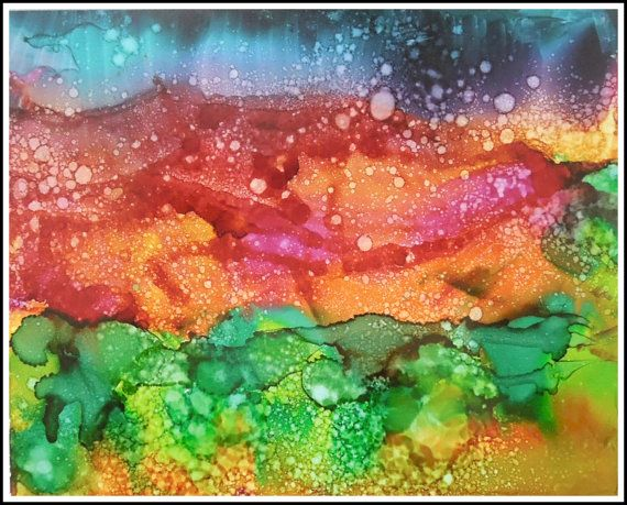 This vibrant and colorful southwest dreamscape was inspired by my trip to Santa Fe last year. The painting is made with alcohol inks, a highly pigmented medium with vibrant colors. The painting is 8x10 inches and is matted to an 11x14 finished work. For me, alcohol inks are perfectly made for abstract paintings. This is a medium I have been studying for a long time and am loving the creative process. This image is a limited edition signed giclee print printed on a professional photo printer…