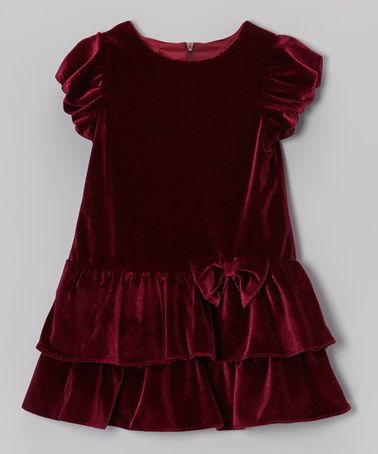 Look what I found on #zulily! Burgundy Tiered Velvet Dress - Infant #zulilyfinds
