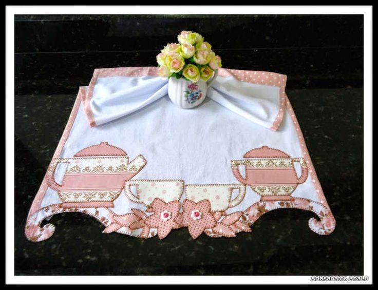 Artesanatos Ana Lu: Pano de prato especial - Bule de chá