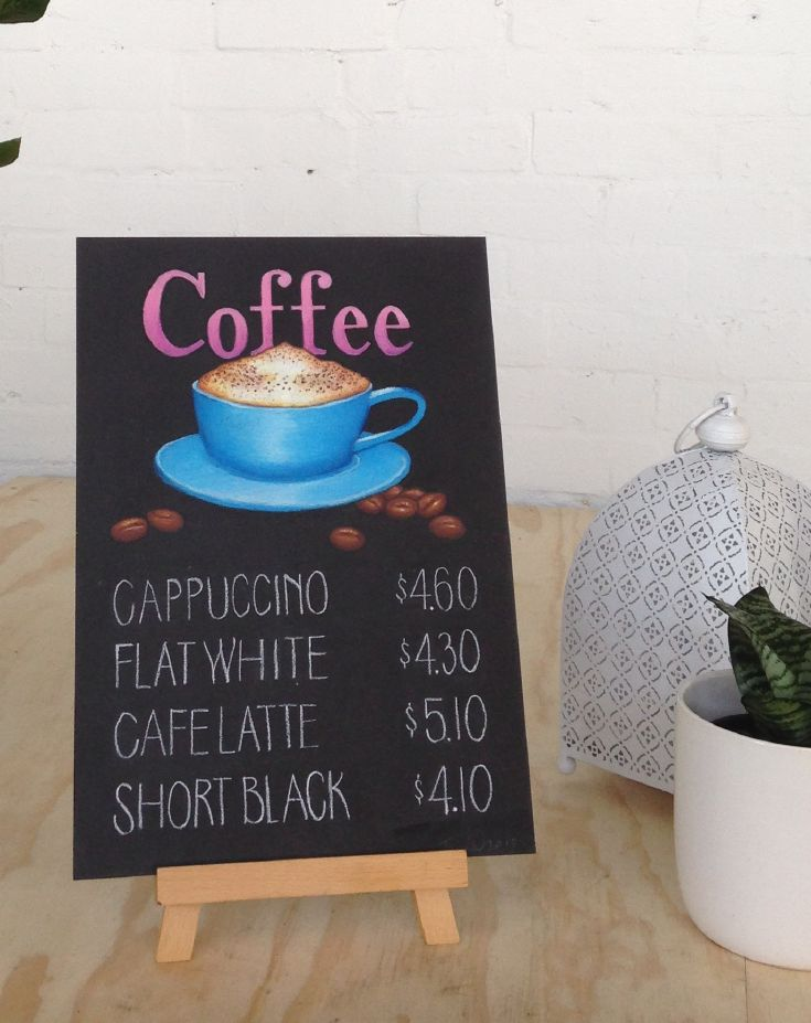 "Just like the saying goes, ""All you need is love, and a cup of coffee"". Chalk art sign using oil pastels by @inkifyaustralia"