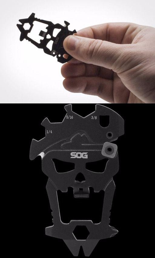 SOG MacV Tool Multi-Tool SM1001-CP - Hardcased Black, 12 Tools in One Bottle Opener, Screwdrivers EDC Everyday Pocket Keychain tool