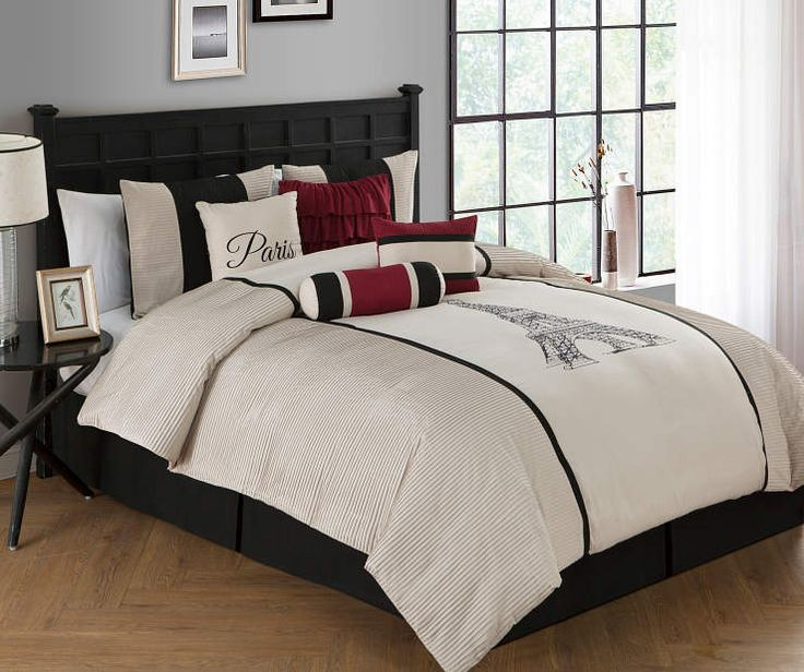 Best Aprima Taupe Red Black Paris Pleated 8 Piece Comforter 400 x 300