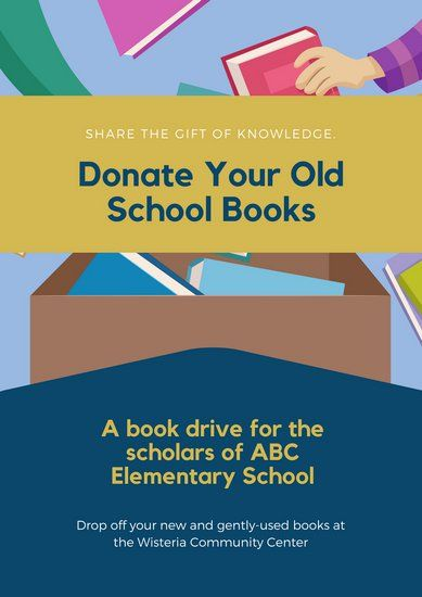 blue and yellow book donation poster