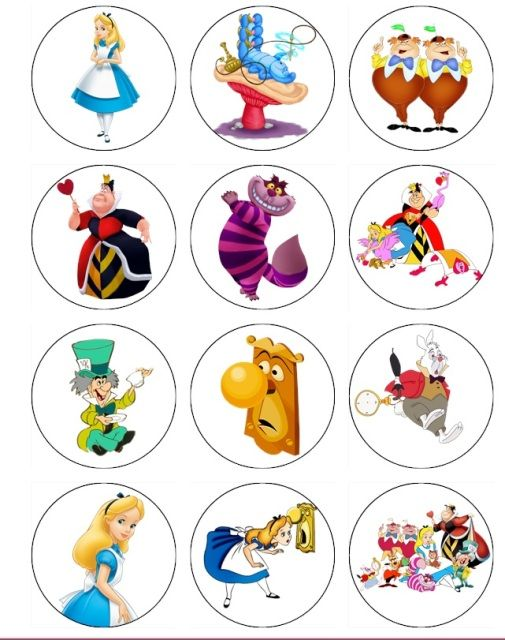 Alice in Wonderland Birthday Ideas EDIBLE IMAGE CUPCAKE TOPPERS OF ALICE IN WONDERLAND only $5 a Dozen!!!!!!!!!!