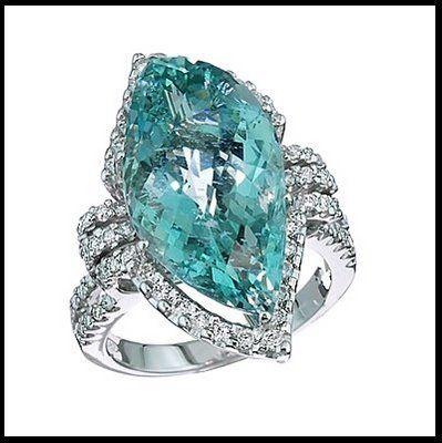 Alquimista Jóias: Anel de Água-Marinha e Diamantes
