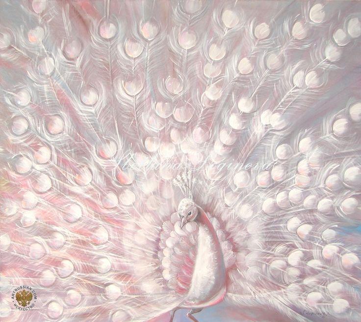 Логинова Светлана Геннадьевна Батик и роспись по ткани Танец в лучах заходящего солнца... Анималистика Авангардизм Шелк, акрил. 80х90 2014 белый павлин белый розовый пурпурный шелк батик в спальню в гостиную декор интерьера оформление интерьера подарок день рождения свадьба юбилей новый год подарок женщине