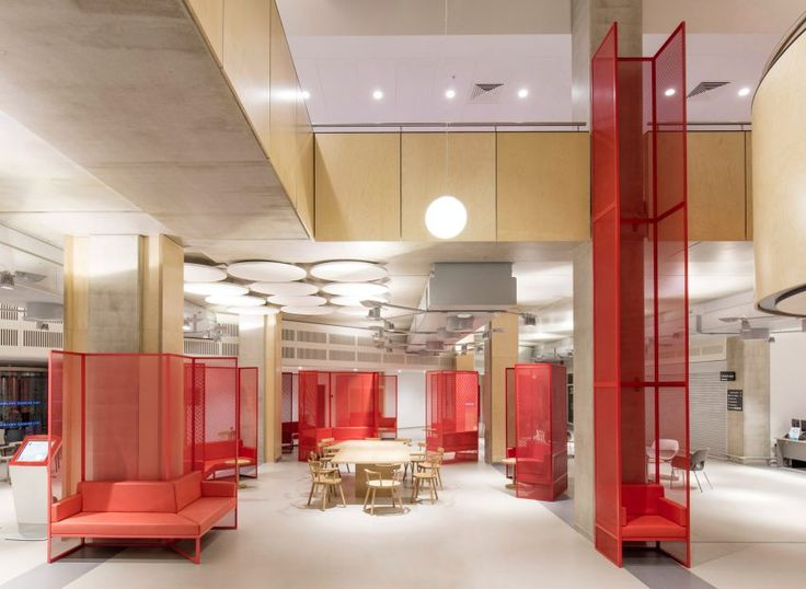 Genius Loci, the seats in this treatment centre, are upholstered in bold colours corresponding to the bright panelling used to designate each area of the building.