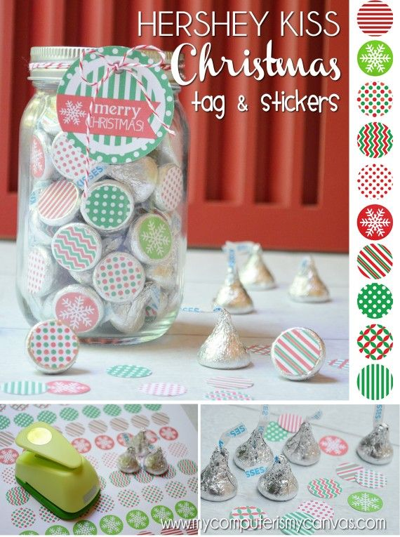 Printable Hershey Kiss Christmas Stickers + Mason Jar Lid Topper and Gift Tag - super cute gift for neighbors, teachers or friends! #mycomputerismycanvas