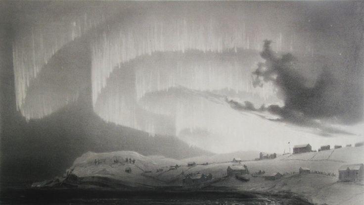 Tegning av nordlys over himmelen i Bossekop i Alta som er tegnet av den franske forskeren Louis Bevalet på 1800-tallet.