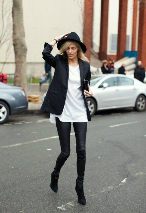 black blazer + white tee + fedora