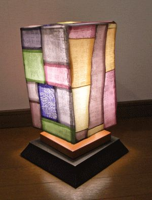 lantern covered in korean pojagi panels, from a japanese blog