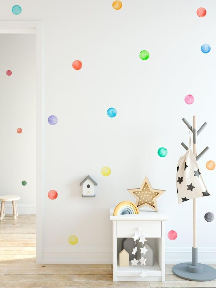 Polka Dots Decal Kids Wall Decal Watercolor Wall Stickers Kids