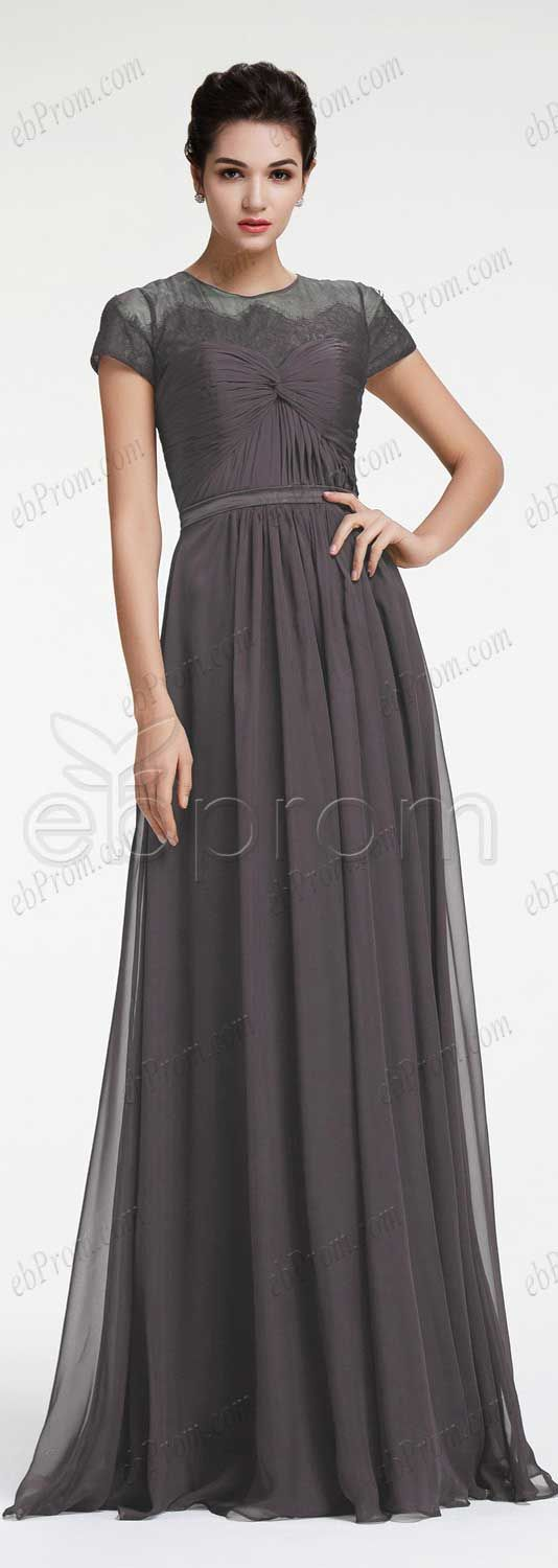 Charcoal grey bridesmaid dresses with sleeves modest bridesmaid dress plus size maid of honor dresses formal dresses