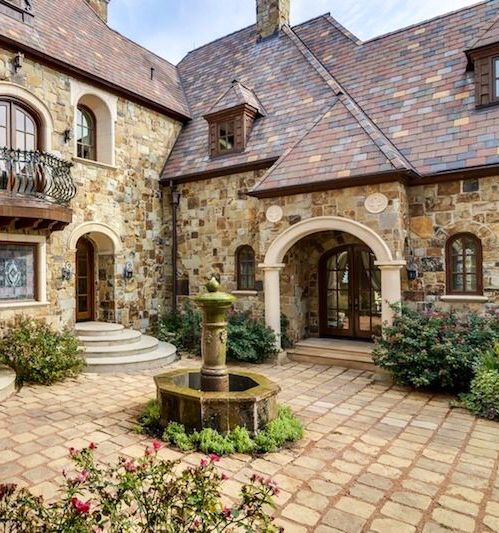 Mediterranean Exterior Of Home With Pathway Fountain: Love The Stone And The Roof! Cobblestone Courtyard, Too