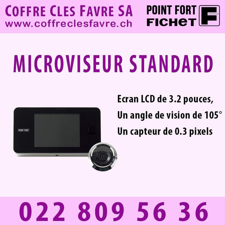 Microviseur Fichet STANDARD Le modèle Standard comprend un écran LCD de 3.2 pouces, un angle de vision de 105°, un capteur de 0.3 pixels... #Pointfortfichet #Geneve #Surveillance