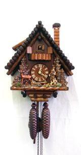 Pendule à coucou<br>Maison de la Forêt-Noire, chasseur, chevreuil