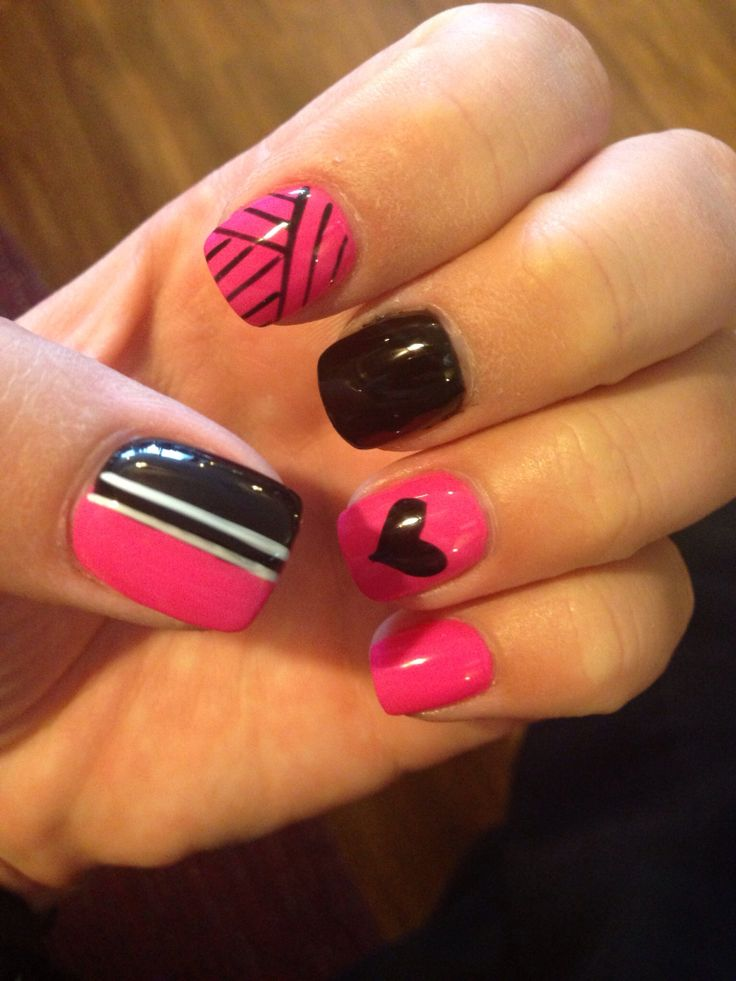 71 best my nails images on pinterest nail art my nails and nail pink and black nail design prinsesfo Gallery