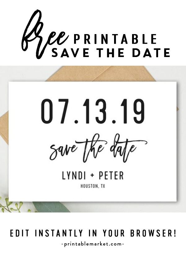 Free Save The Date Template Black And White Editable Printable Market Save The Date Templates Diy Save The Dates Save The Date