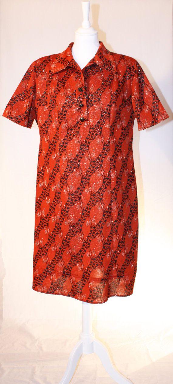 Orange brown vintage dress size 1618 by RoxygoesRetro on Etsy, €35.00