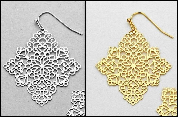 BOHO GYPSY FILIGREE SQUARE DANGLE EARRINGS - GOLD or MATTE SILVER - FLAT MESH