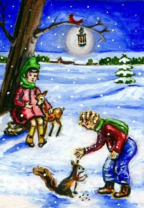 Original ACEO Winter Children Cardinal Bird Deer Art by aglaya Santa's Songbird  #Miniature