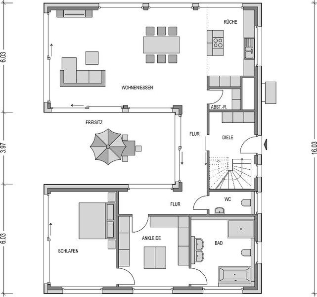 Bungalow In U Form Bungalow Grundriss U Form In 2019 | Grundriss Bungalow ...