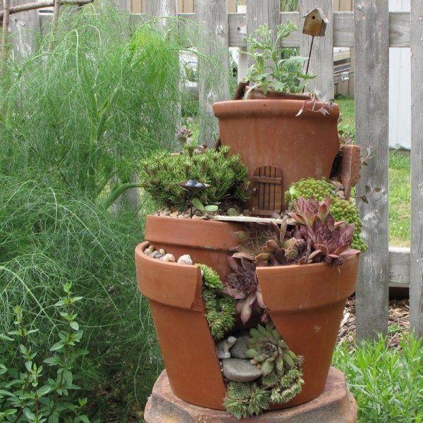 Recyclage : pots de fleurs en grès