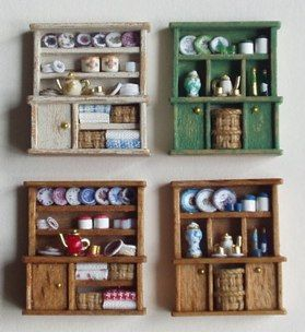 ••  Francesca Vernuccio Miniatures:  MUEBLES PARA ESCALA 144.  wood full big cupboard 1,2,3,4