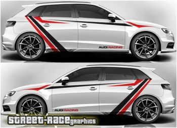 Audi A3 racing stripes graphics decals