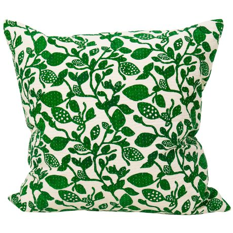 Birch green cushion cover. The pattern on this green cotton cushion cover is printed with hand carved wooden blocks on cotton cloths, then quilted by hand to get a nice soft quality.