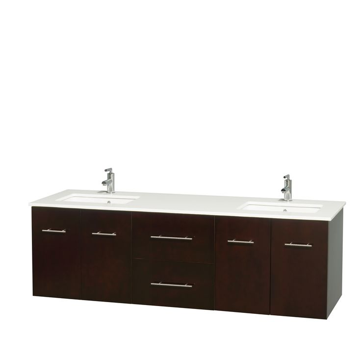 Photo Gallery In Website Wyndham Collection Centra inch Double Bathroom Vanity in Espresso No Mirror Espresso White Stone Counter UM Sinks No Mir Brown Size Double Vanities