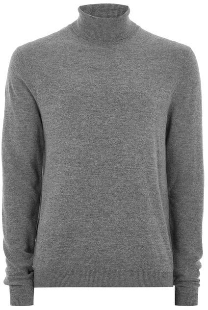 Topman Charcoal Cashmere Roll Neck Sweater