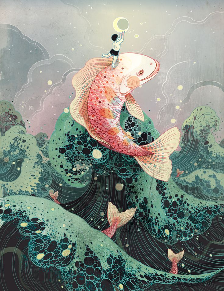"Victo Ngai, Moon Catcher Victo Ngai Sorry for falling off... / ""A fish helping a child to catch the moon"" / #Story"