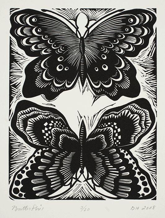 """Deborah Harris, Butterflies, linoleum block print 6""""x8"""""""