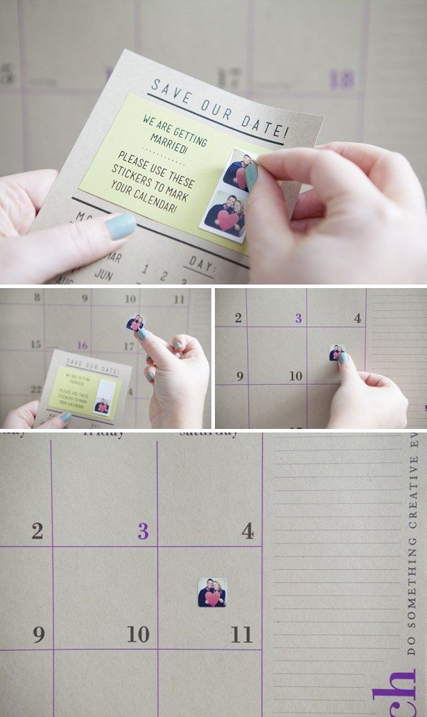 """Help your guests save the date by sending them """"save the date"""" stickers to mark their calendars! 