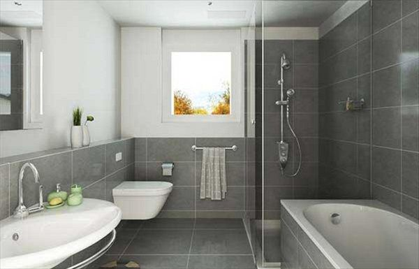 Bathroom, Cool Bathroom Designs in Captivating Gray : White Backdrop And Grey Tiles Bathroom Ideas With Captivating Small Window ~ oyshis.co...