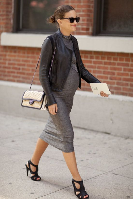 Taken at New York Fashion Week. (Of COURSE there's a super cute pregnant lady with fab style on hand.)