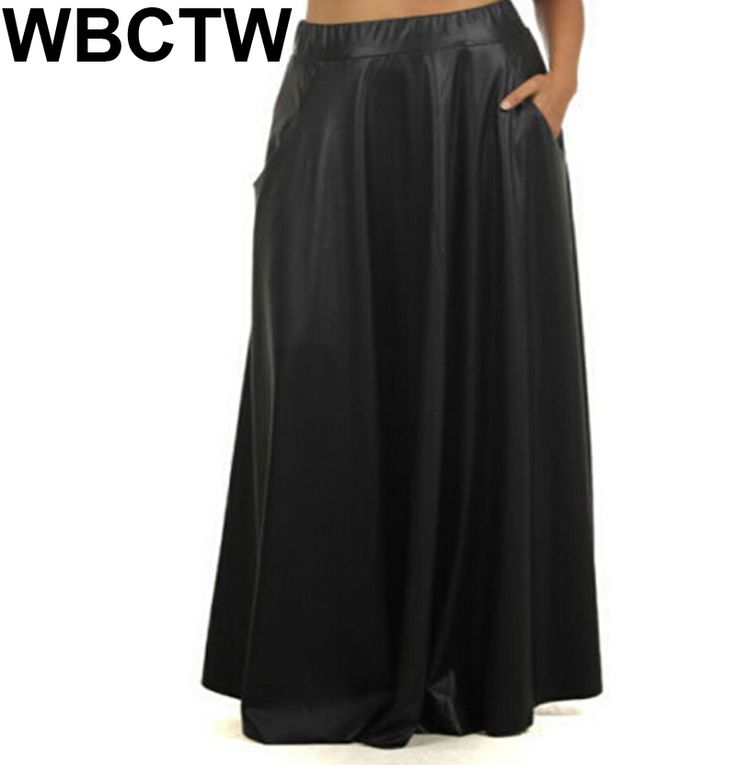 ==> [Free Shipping] Buy Best Customized 2017 New Fashion Summer High waist A line Leather Skirt Black PU Leather Skirts Vintage Mid Long Skirts Online with LOWEST Price   32806532796