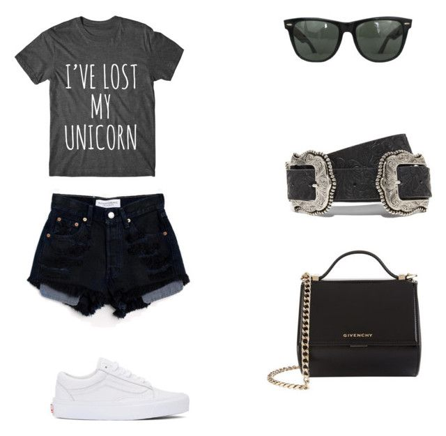 """""""Untitled #3"""" by kassiaraya on Polyvore featuring Levi's, Vans, Givenchy, Ray-Ban and B-Low the Belt"""