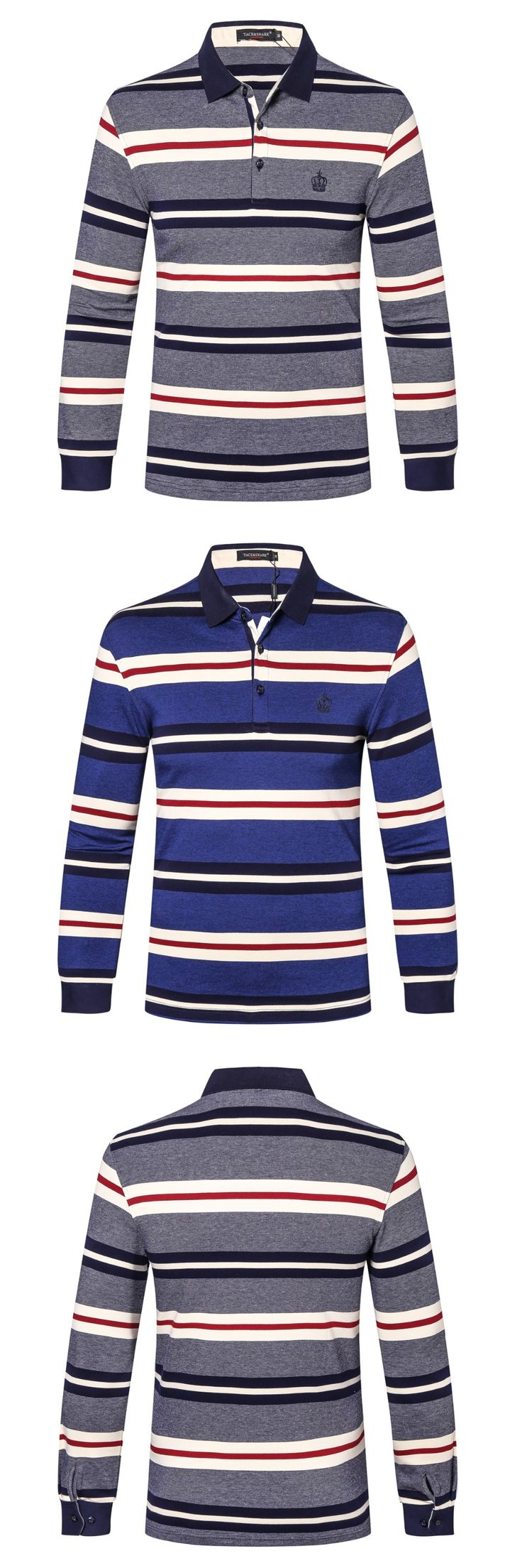 polo shirt men POLO shirt men long sleeveBrand Tace&shark Polo shirt Cotton Lapel business striped embroidery polo shirt