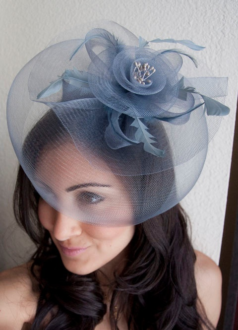 Pricilla Gray Mesh Rose Couture English Hat by EyeHeartMe on Etsy, $38.00