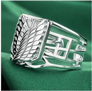 Japanese Anime Attack on Titan Scouting Legion 925 Silver Ring Wings of Liberty Ring- Free Shipping Wholesale $29.99