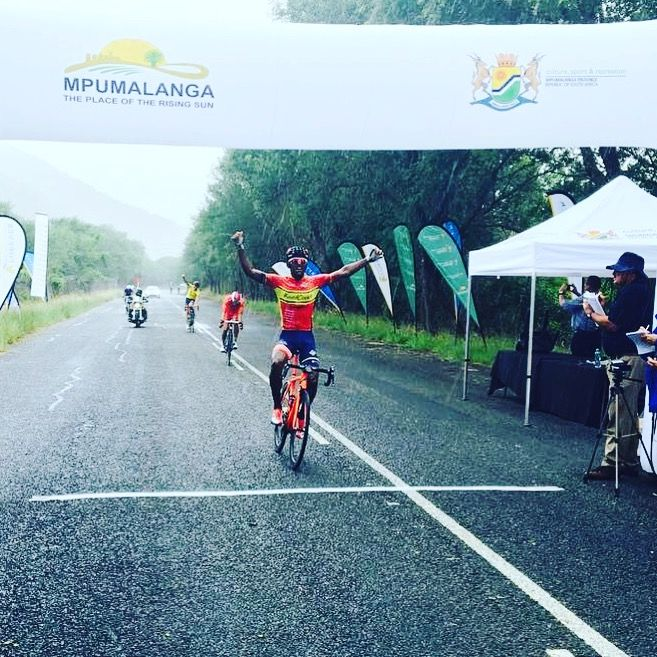 Stage5 finishes at Swadini, A Forever Resort 1st Clint Hendricks Team RoadCover Cycling Team 2nd Jayde Julius Team Alfa Body Works 3rd Willie Smit also Team RoadCover #MpumalangaCycleTour