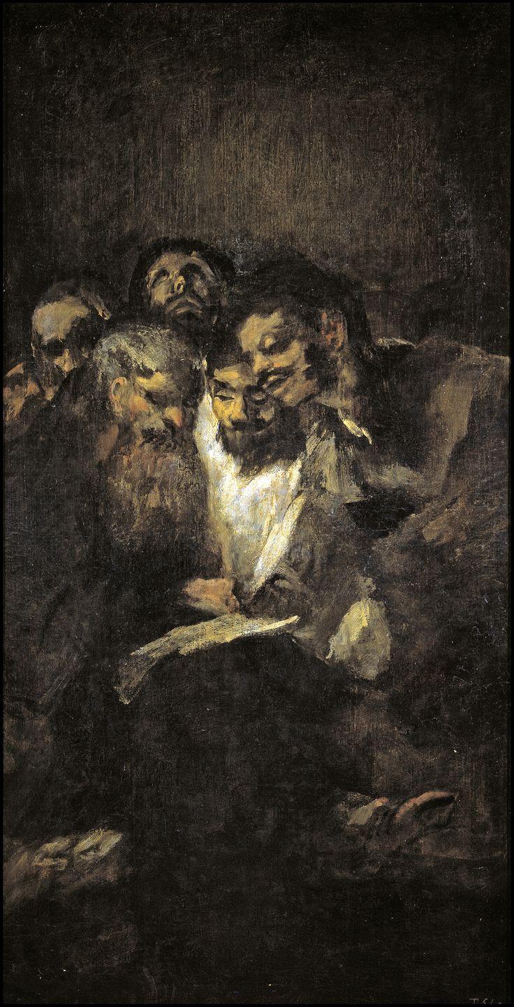 """Francisco de Goya: """"La lectura, o Los políticos"""".126 x 66 cm. Pinturas negras (Black Paintings), 1820-1823. Museo Nacional del Prado, Madrid, Spain"""