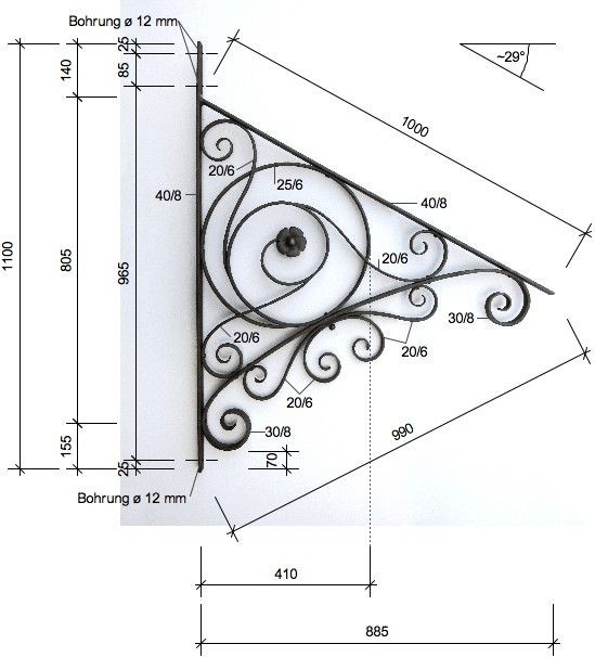 »Vordachkonsole Historismus« von Replicata: Schmiedeeisen ohne Oberflächenbehandlung, Replikate