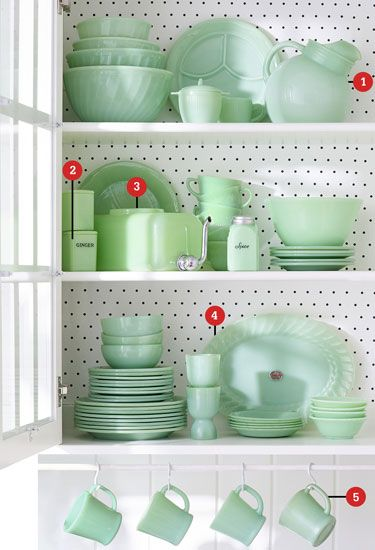 Jugs, Mugs, and Jars | 1. Ball jug: Sold in limited quantities in the 1940s by Anchor Hocking, these pitchers are now the most coveted single pieces of Jadeite. Even damaged specimens (they're prone to stress cracks around the neck and handle) go for $150. Value: $400. 2. Ginger jar: This 3-inch canister by Jeannette Glass was part of a four-spice set that retailed for $4.25. Value: $145. 3. Water dispenser: This 1940s water chiller has a chrome spout that twists.... [Photo:  Brian Woodcock]